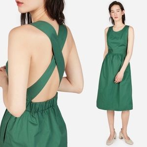 Everlane The Clean Cotton Cross Back Midi Dress